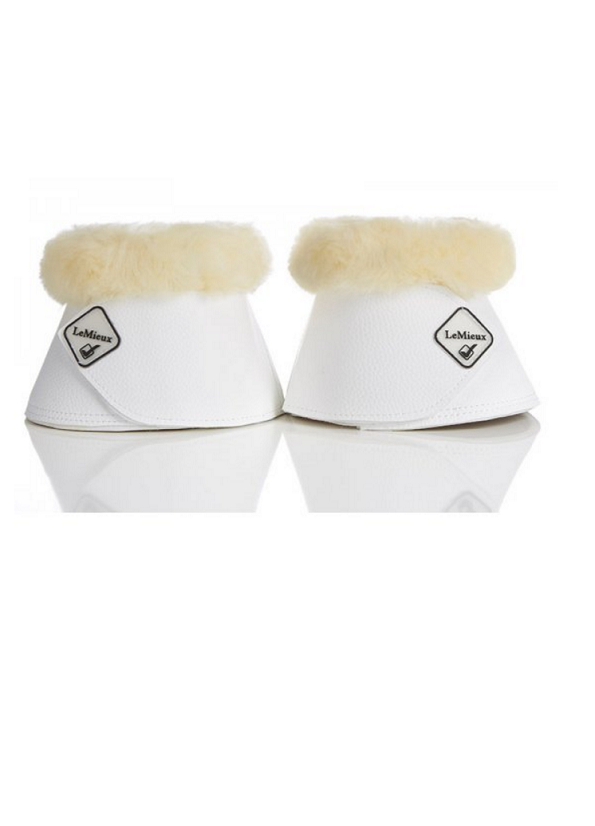 LeMieux Lambskin WrapRound Over Reach Boots - White/Natural