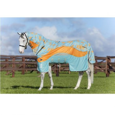 Horseware Amigo 3 in 1 Evolution Fly Sheet Disc Front - Aqua/Orange