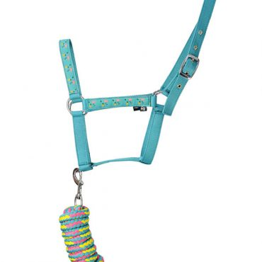 Hy Flamingo Head Collar and Lead Rope - Teal/Provence Blue