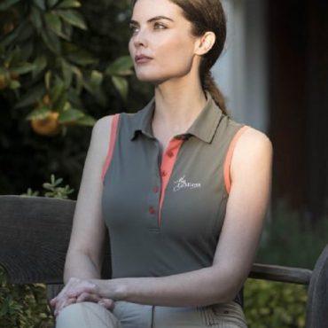 LeMieux Ladies Sleeveless Polo Shirt - Khaki/Sorbet