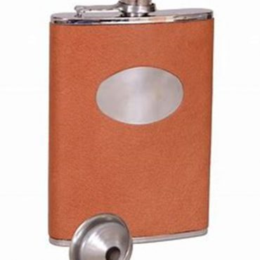 Bonart Leather Hip Flask 8oz - Brown