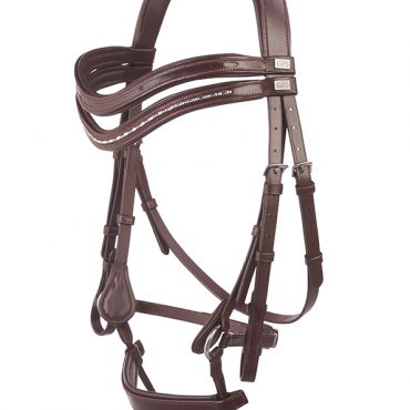 GFS Harmony Bridle with Rubber Reins - Brown