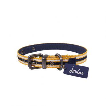 Joules Coastal Dog Collar - Navy & Yellow Stripe