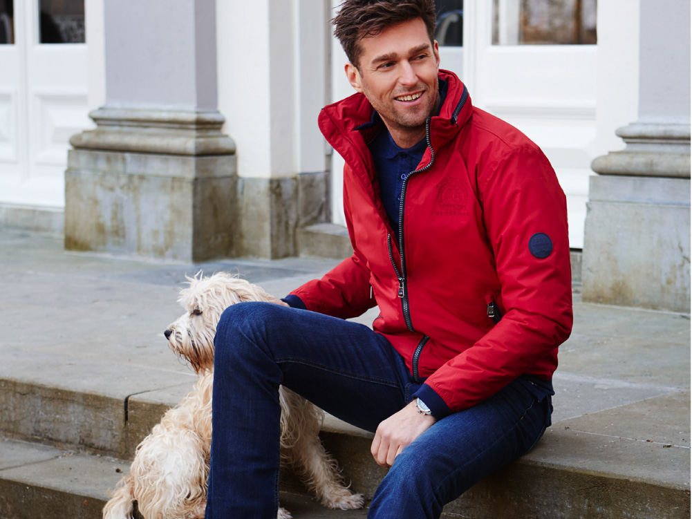 Man in red jacket
