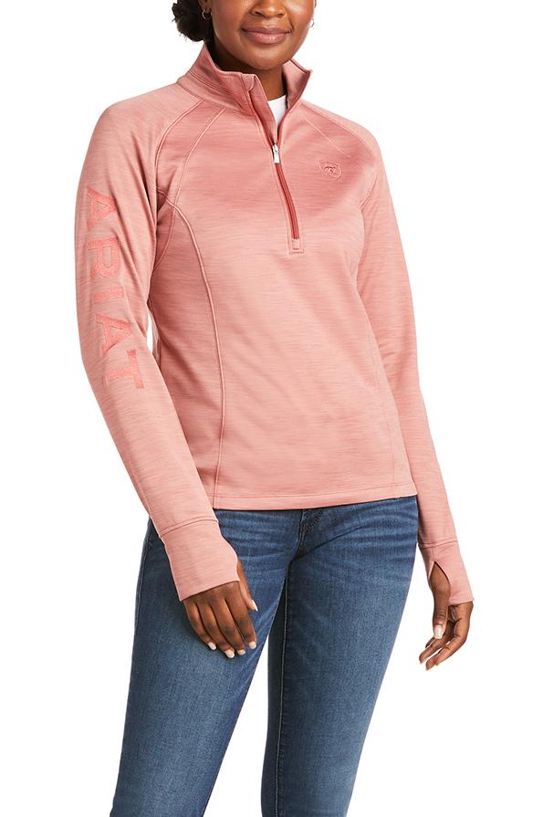 Ariat Ladies Tek Team Half Zip Sweater - Ash Rose - Front