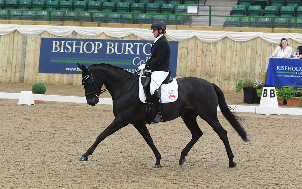 Woman riding a horse in dressage competition