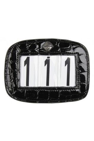 image of LeMieux Leather Black Croc Saddle Pad Number Holder