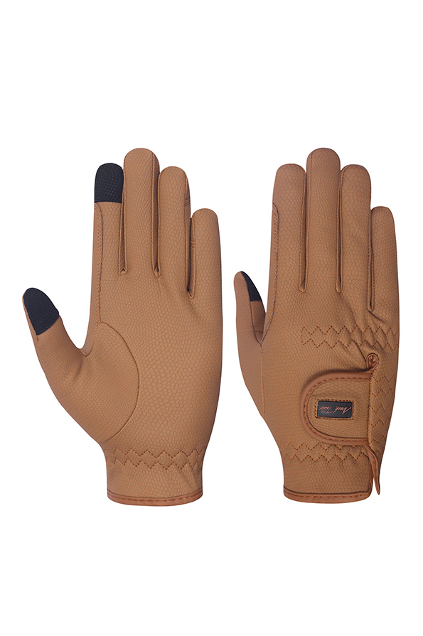 Mark Todd Pro Touch Gloves in Caramel - Front and Back