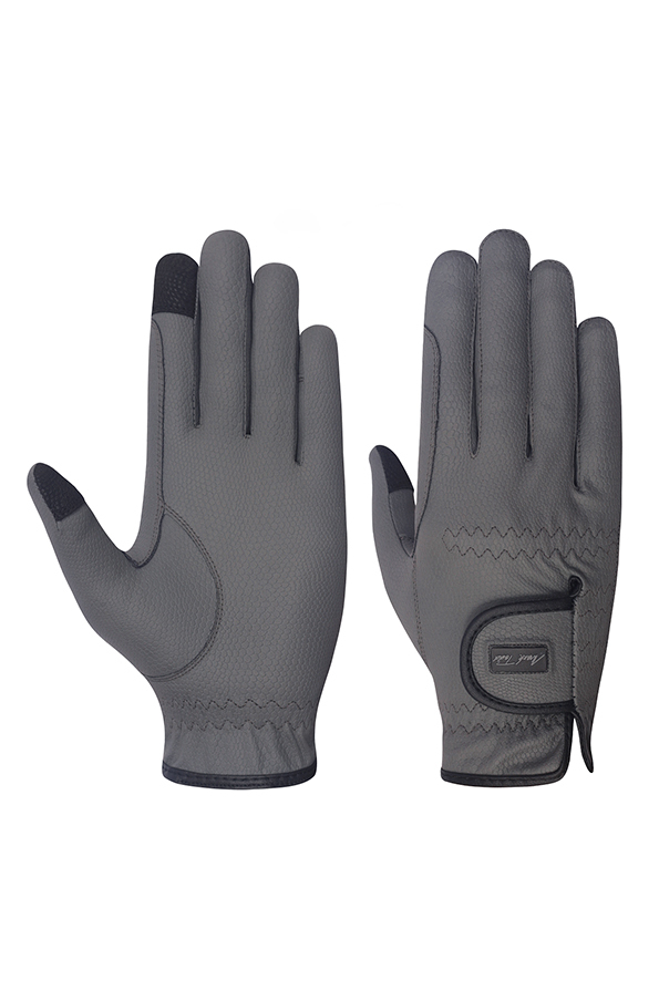 Mark Todd Pro Touch Gloves in Grey - Front and Back