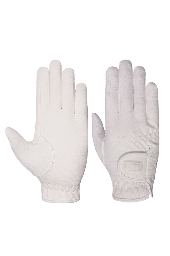 Mark Todd Pro Touch Gloves in White - Front and Back